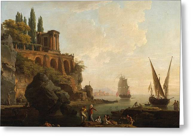 Docked Sailboats Greeting Cards - Italian Harbor Scene Greeting Card by Vernet
