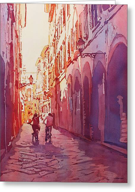 Armitage Greeting Cards - Italian Heat Greeting Card by Jenny Armitage