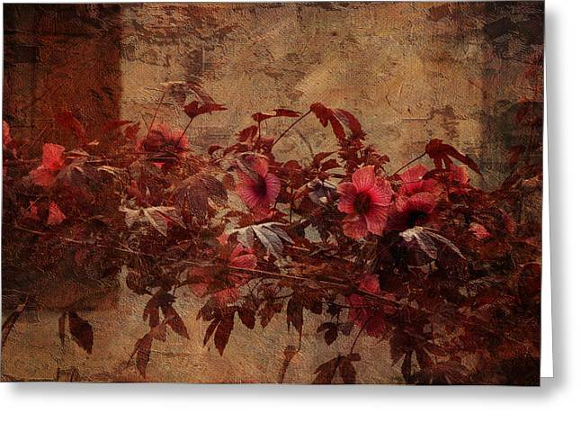 Warm Tones Greeting Cards - Italian Impasto Style Coral Floral Branch Greeting Card by Carla Parris