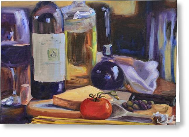 Vinegar Greeting Cards - Italian Kitchen Greeting Card by Donna Tuten