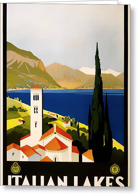 Signed Drawings Greeting Cards - Italian Lakes Travel Poster Greeting Card by Mountain Dreams