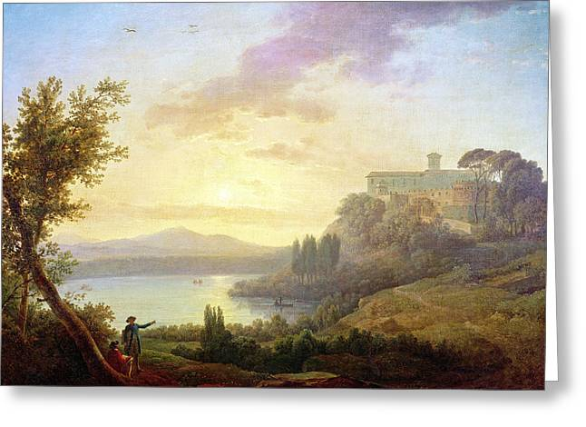 Italian Landscape, Setting Sun Greeting Card by Jean-Francois Hue