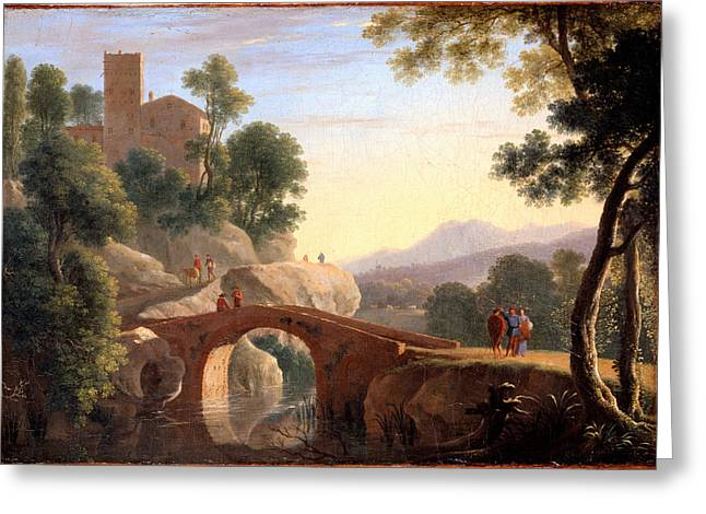 Italian Landscapes Greeting Cards - Italian Landscape with Bridge Greeting Card by Herman van Swanevelt