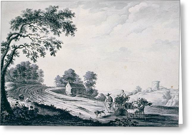 Figures Photographs Greeting Cards - Italian Landscape With Peasants And Animals On A Road Drawing Greeting Card by William Beilby