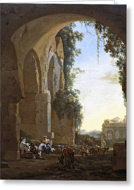 Italian Landscapes Greeting Cards - Italian landscape with shepherds in ruins Greeting Card by Jan Asselijn