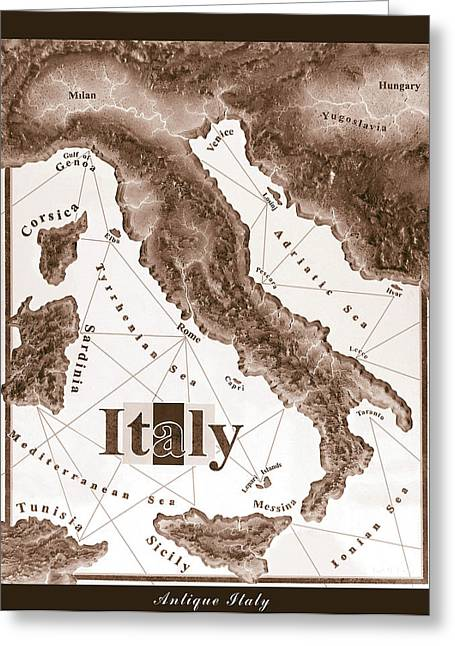 Wooden Sculpture Greeting Cards - Italian Map Greeting Card by Curtiss Shaffer