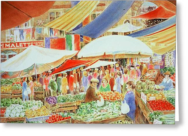 Italian Market Greeting Card by Lee Ferrara