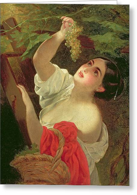 Picking Greeting Cards - Italian Midday, 1831 Greeting Card by Karl Pavlovich Bryullov