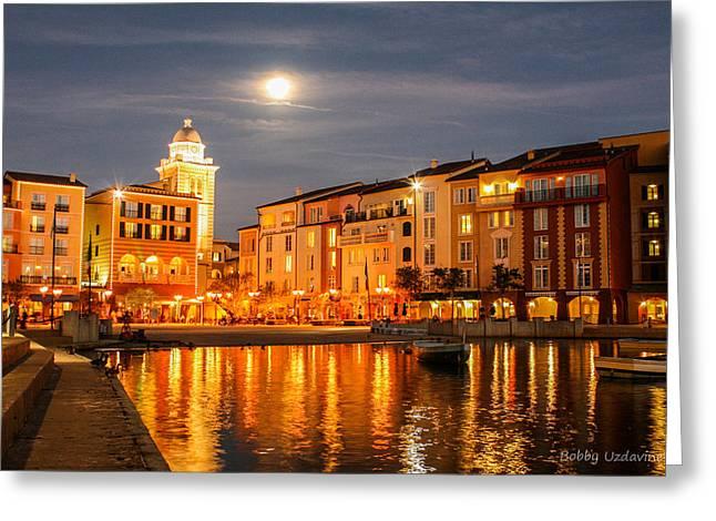 Portofino Italy Digital Greeting Cards - Italian Midnight Greeting Card by Bobby Uzdavines