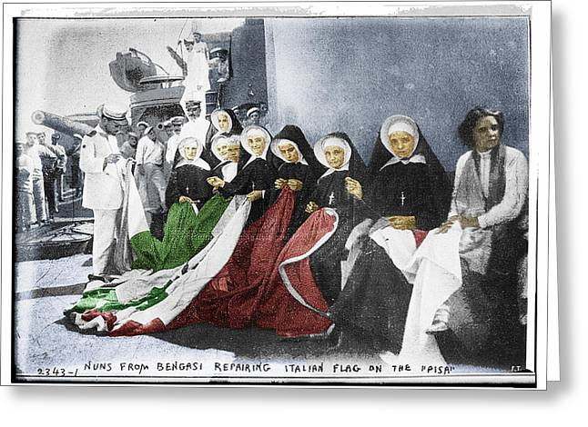 Interior Scene Mixed Media Greeting Cards - Italian Nuns Greeting Card by Tony Rubino