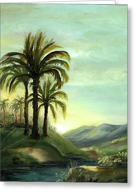 Tropical Golf Course Greeting Cards - Italian Palms Greeting Card by Cecilia  Brendel