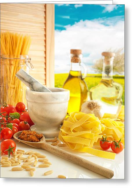 Italian Ingredients Greeting Cards - Italian Pasta In Country Kitchen Greeting Card by Amanda And Christopher Elwell