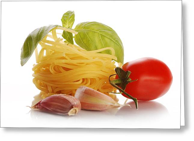 Spaghetti Noodles Greeting Cards - Italian pasta with basil tomato and garlic Greeting Card by Justyna Kaminska