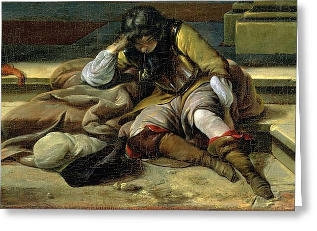 Asleep Greeting Cards - Italian Port Scene, Detail Greeting Card by Jan Baptist Weenix