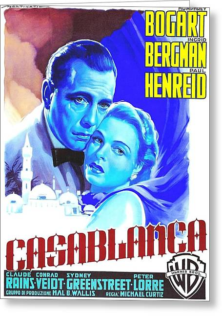 Italian Cinema Greeting Cards - Italian poster of Casablanca Greeting Card by Art Cinema Gallery