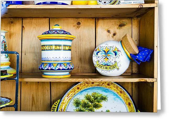 Italian Pottery Greeting Cards - Italian Pottery I Greeting Card by Bernard  Barcos