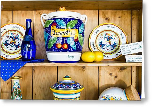 Italian Pottery Greeting Cards - Italian Pottery II Greeting Card by Bernard  Barcos