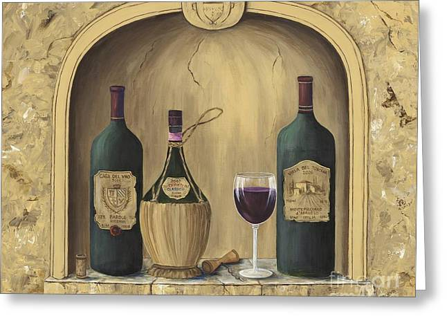 Glass Of Wine Greeting Cards - Italian Reds Greeting Card by Marilyn Dunlap