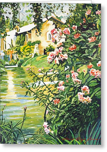 Europe Paintings Greeting Cards - Italian River Greeting Card by David Lloyd Glover