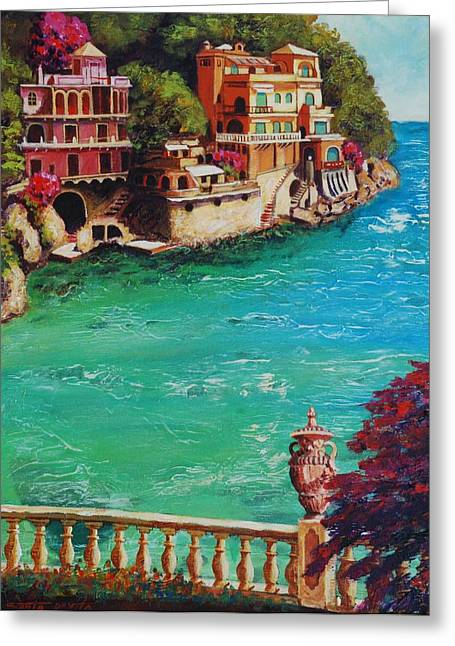 Italian Med Greeting Cards - Italian Riviera Greeting Card by Santo De Vita
