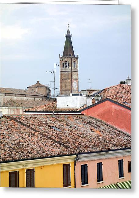 North Italian Town Greeting Cards - Italian Roofs Greeting Card by Valentino Visentini