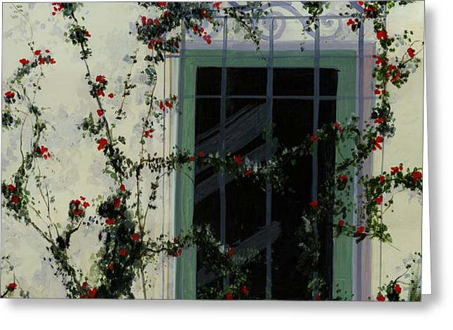 Italian Rose Vine Greeting Card by Cecilia  Brendel