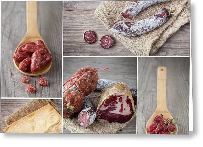 Italian Restaurant Greeting Cards - Italian salami collage Greeting Card by Sabino Parente