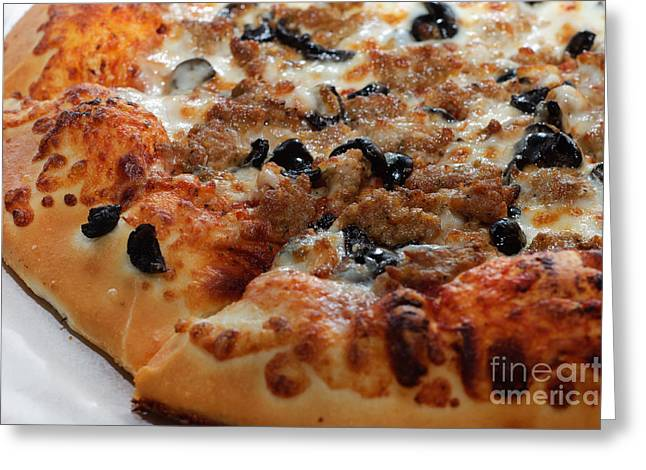 Black Olives Greeting Cards - Italian Sausage And Olive Pizza 2 Greeting Card by Andee Design