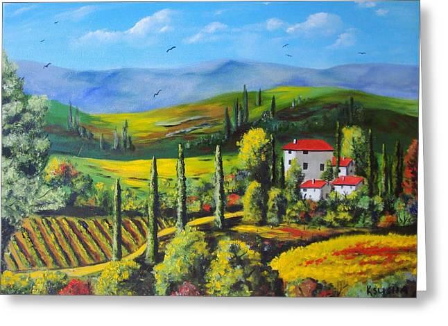 Wine Scene Mixed Media Greeting Cards - Italian Scene Greeting Card by Ksusha Scott