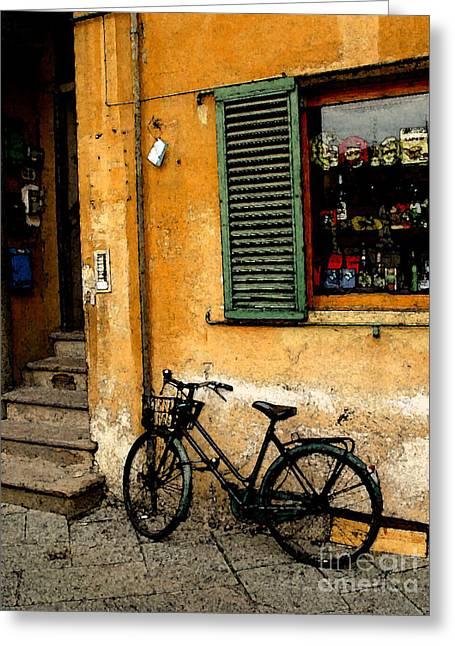 European Bicycle Shop Greeting Cards - Italian Sidewalk Greeting Card by Nancy Bradley
