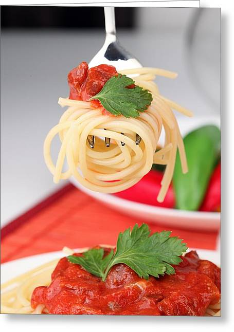 Spaghetti Greeting Cards - Italian Spaghetti Greeting Card by John Vito Figorito