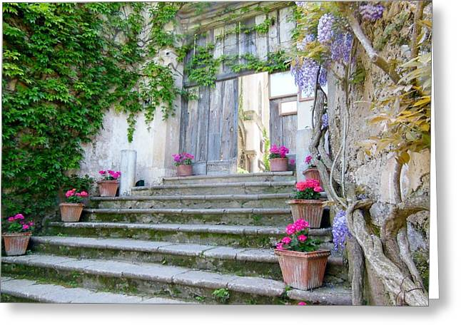 Wisteria Greeting Cards - Italian Staircase With Flowers Greeting Card by Marilyn Dunlap