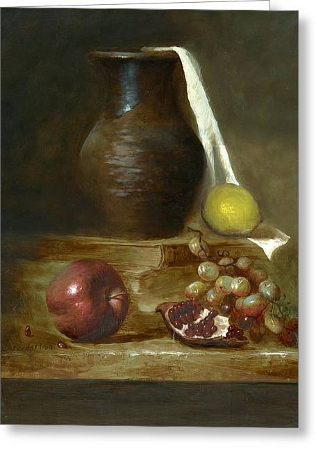 Oil On Canvas Board Greeting Cards - Italian Still life Greeting Card by Cecilia  Brendel