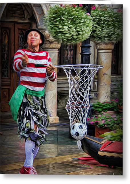 Street Performers Greeting Cards - Italian Street Performer Greeting Card by Lee Dos Santos