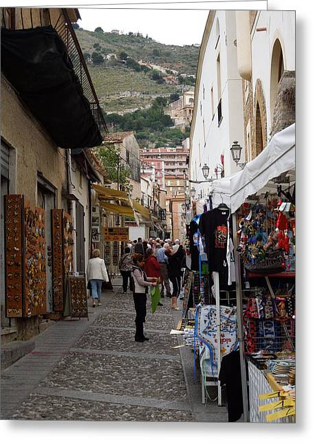 Italian Street Scene Greeting Card by Becky Linhardt