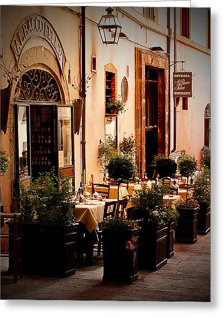 Medival Greeting Cards - Italian Trattoria Greeting Card by Todd Hanes