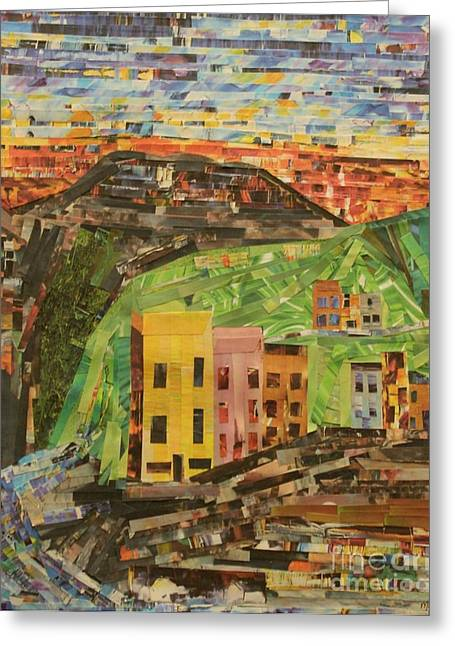 Italian Sunset Mixed Media Greeting Cards - Italian Village Greeting Card by Mary Chris Hines