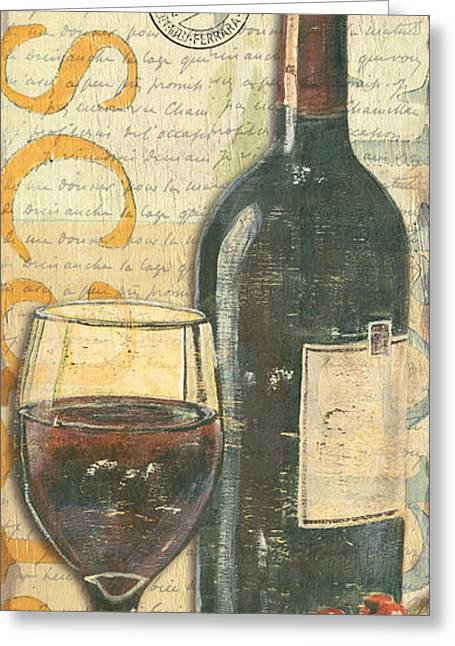 Purple Grapes Paintings Greeting Cards - Italian Wine and Grapes Greeting Card by Debbie DeWitt