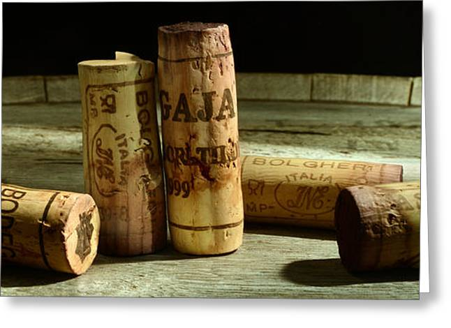 Red Wine Bottle Greeting Cards - Italian Wine Corks Greeting Card by Jon Neidert