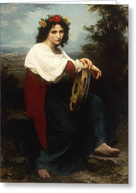 Italian Landscapes Greeting Cards - Italian woman with a tambourine Greeting Card by William Adolphe Bouguereau