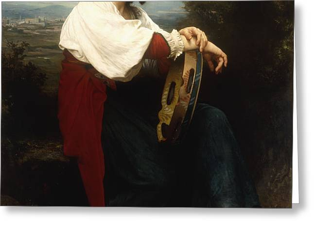 Italian woman with a tambourine Greeting Card by William Adolphe Bouguereau