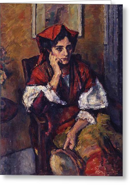 Francois Greeting Cards - Italian Woman with Tambourine Greeting Card by Charles-Francois-Prosper Guerin