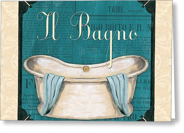 Light Aqua Greeting Cards - Italianate Bath Greeting Card by Debbie DeWitt