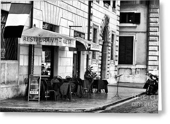 Italian Restaurant Greeting Cards - Italiano Cafe Greeting Card by John Rizzuto