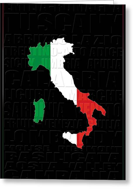 Map Of Italy Greeting Cards - Italy 2 Greeting Card by Andrew Fare