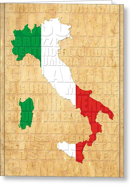 Map Of Italy Greeting Cards - Italy Greeting Card by Andrew Fare