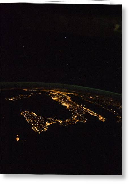 Inhabited Environment Greeting Cards - Italy at night, ISS image Greeting Card by Science Photo Library