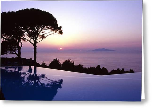 Italian Sunset Greeting Cards - Italy, Campania, Capri, Anacapri, Hotel Greeting Card by Tips Images