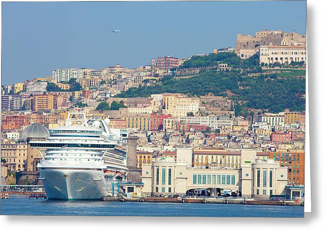 Italy, Campania, Napels - Port Greeting Card by Panoramic Images