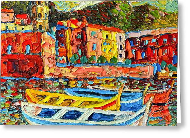 Boats In Harbor Greeting Cards - Italy - Cinque Terre - Boats In Vernazza - 2 Greeting Card by Ana Maria Edulescu